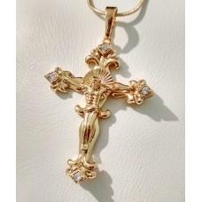 Крестик с Иисусом размер 49х30 мм, белые фианиты, петелька 7 мм, позолота 18К
