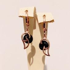Сережки підвіски розмір 27*8мм, чорний цирконій, позолота РО