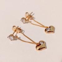 Сережки пуссети сердечко на ланцюжку розмір 34*11 мм, білі фіаніти, вага 2.8гр, позолота 18К