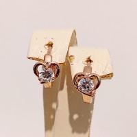 Сережки Xuping сердечки з білими цирконіями, розмір 11*7мм, позолота РО