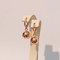 Сережки підвіски Xuping зеркальні кулькі розмір 25*10мм, позолота 18К