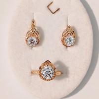 Набор Жанна кольцо размер 16 + серьги 15*10 мм, белые фианиты, позолота 18К