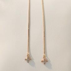 Сережки протяжки Xuping хрестики, розмір 115*6мм, білі фіаніти, вага 1.7гр, позолота 18К