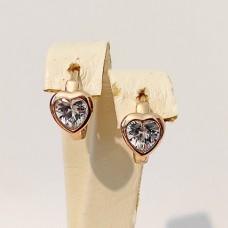 Сережки дитячі Xuping сердечки, розмір 13х8 мм, білі цирконії, позолота 18К