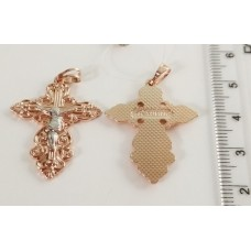 Крестик ажурный с Иисусом с родированием 00223, размер 36*25 мм, позолота РО