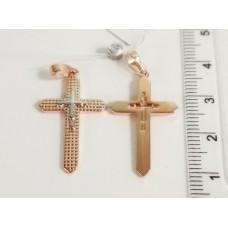 Крестик без распятия с родированием, 00275 размер 34*17 мм, позолота РО