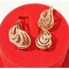 Набор Золотая Лагуна кольцо размер 18 + серьги 15х11мм, белые фианиты, позолота РО