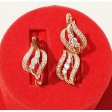 Набор Мадонна кольцо размер 18 + серьги 16х11мм, белые фианиты, позолота РО