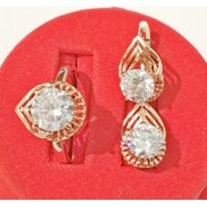 Набор Жанна кольцо размер 17 + серьги 15*10 мм, белые фианиты, позолота РО