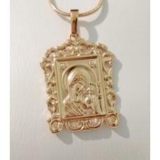 Иконка Божья Матерь ажурная 00724 размер 35*22 мм, позолота 18К