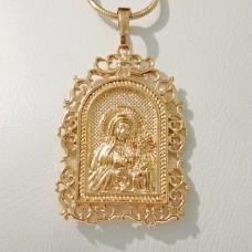 Иконка Божья Матерь объемная 00725 размер 38*23 мм, позолота 18К