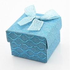 Подарочная коробочка для серёг/кольца  5х5х3,5 см с блёстками золотистая/бирюзовая/бордовая/малиновая