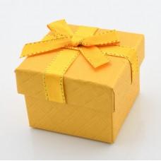 Подарочная коробочка для серёг/кольца  5х5х3,5 см жёлтая/бордовая