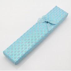 Подарочная коробочка для цепочки/браслета 21х4х2 см с блёстками бирюзовая/сиреневая