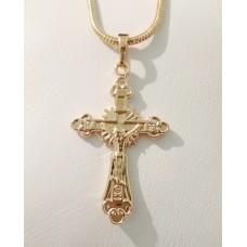 Крестик с Иисусом Спаси и Сохрани  00817 размер 43х23 мм, петелька 6 мм, позолота 18К