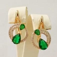 Серьги Кружочек с капельками, размер 20*12 мм, зелёные и белые фианиты, позолота 18К