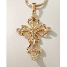 Крестик с Иисусом размер 46х27 мм, белые фианиты, петелька 6 мм, позолота РО