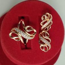 Набор Афина кольцо размер 16 + серьги размер 17*10 мм, белые камни, позолота РО