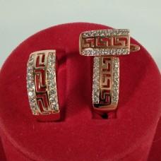 Набор Людмила кольцо размер 19 + серьги 17*8 мм, белые фианиты, позолота РО